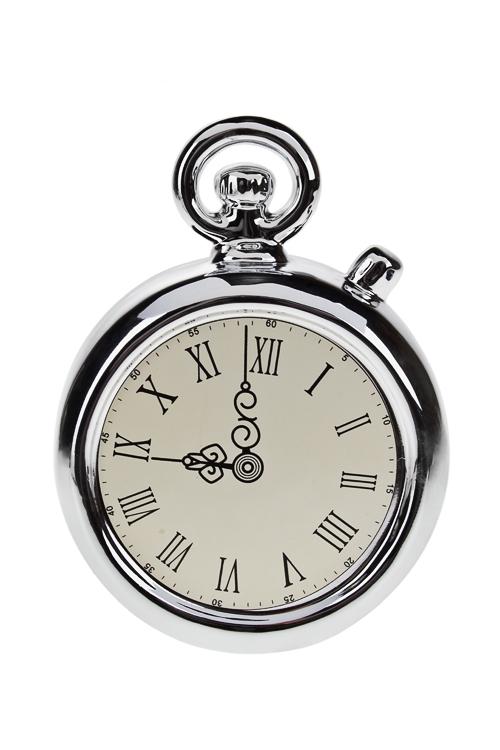 Копилка ЧасыСувениры и упаковка<br>12*5*16см, доломит. керам., бело-серебр.<br>