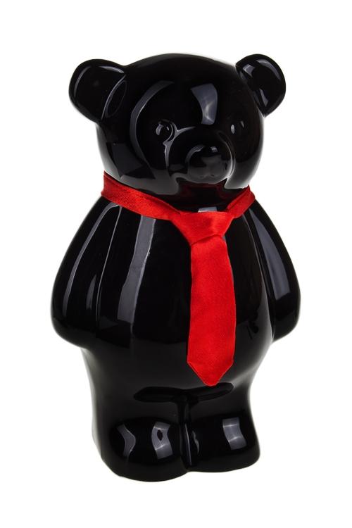 """Копилка """"Мишка с галстуком"""", черная - 1"""