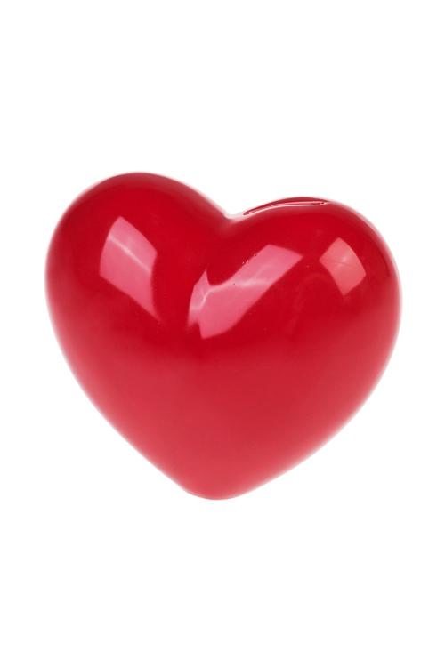 Копилка СердцеСувениры и упаковка<br>16*9*14см, керам., красная<br>