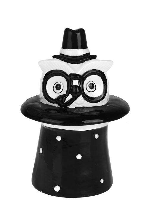 Копилка Мистер СоваСувениры и упаковка<br>13*13*20см, керам., бело-черная<br>