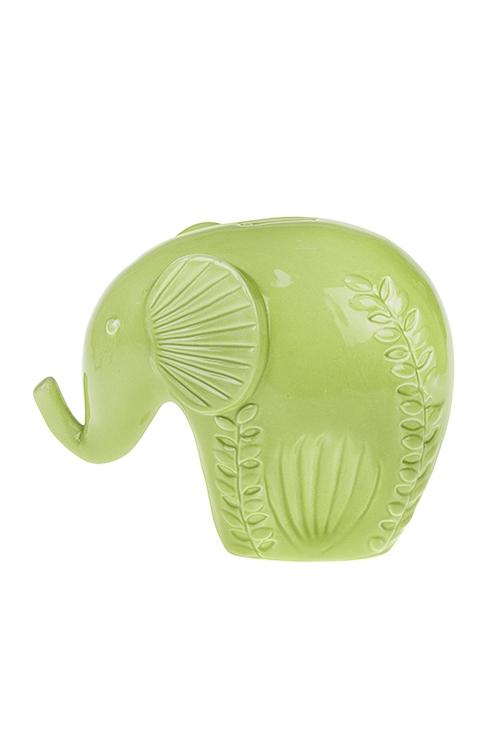 Копилка Цветочный слоникСувениры и упаковка<br>22*18*7см, керам., светло-зеленая<br>
