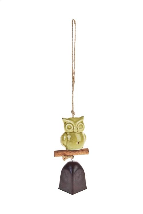 Колокольчик декор. СовушкаПодарки на день рождения<br>Выс=14см, металл, керам., зелено-коричн., подвесной<br>
