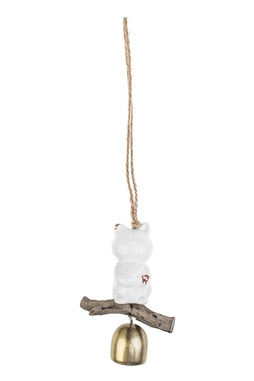 Колокольчик декоративный Мишка с цветкомСувениры и упаковка<br>Выс=10.5см, металл, керам., бело-золот., подвесной<br>