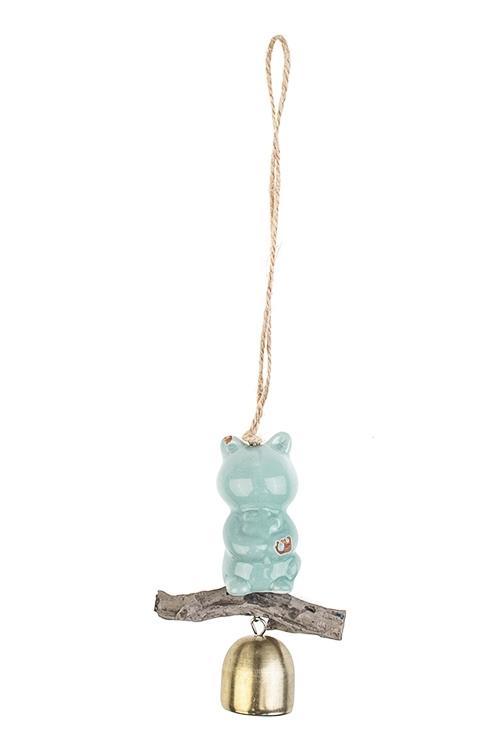 Колокольчик декоративный Мишка с цветкомСувениры и упаковка<br>Выс=10.5см, металл, керам., золот.-голубой, подвесной<br>