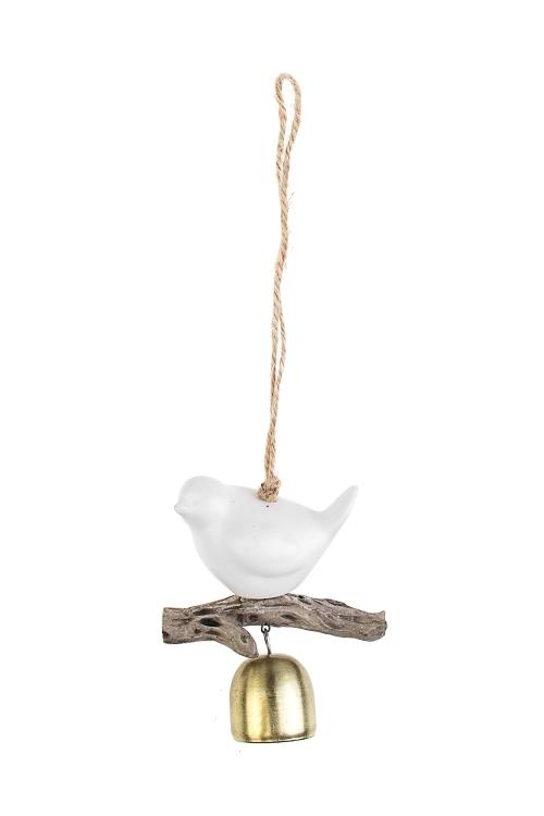 Колокольчик декоративный Птичка на веточкеСувениры и упаковка<br>Выс=9см, металл, керам., бело-золот., подвесной<br>
