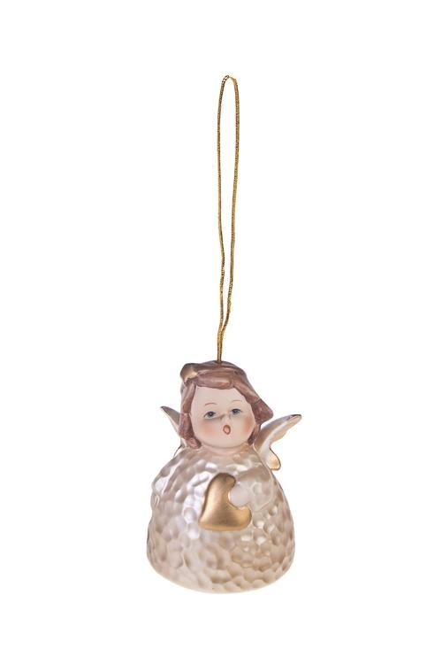 Колокольчик декоративный Ангелочек с сердцемЕлочные игрушки<br>Выс=8см, фарфор, крем.-золот., подвесной<br>