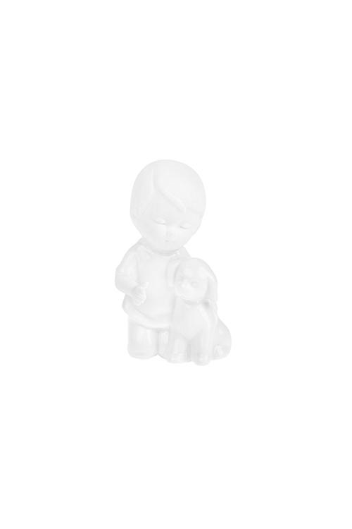 Фигурка Малыш с собачкойСувениры и упаковка<br>Выс=7.5см, фарфор, белая<br>