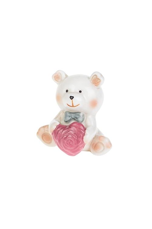 Фигурка Влюбленный медвежонокСувениры и упаковка<br>Выс=6.8см, фарфор, крем.-розовая (2 вида)<br>
