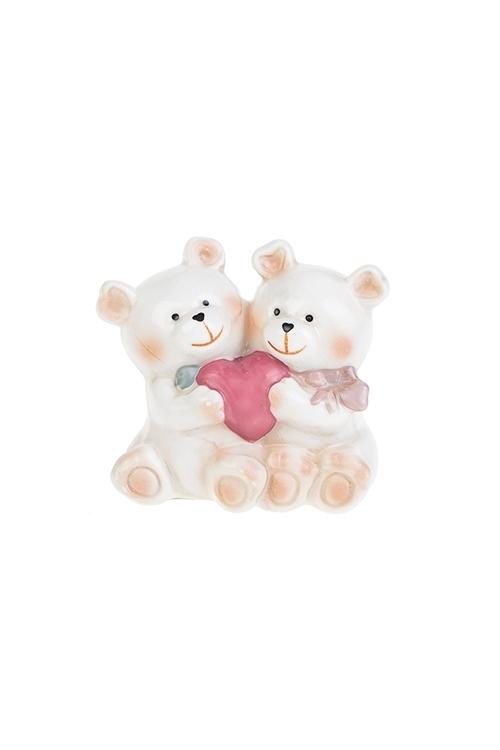 Фигурка Влюбленные медвежатаСувениры и упаковка<br>Выс=6.8см, фарфор, крем.-розовая<br>