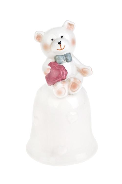 Колокольчик декоративный Влюбленный медвежонокСувениры и упаковка<br>Выс=14см, фарфор, крем.-розовый<br>