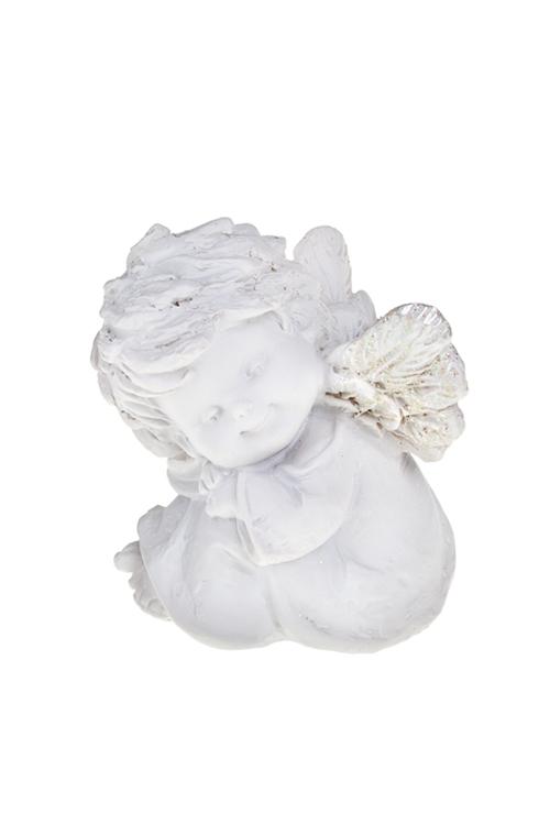 Фигурка АнгелИнтерьер<br>Фигурка Ангел, Выс=7см, сидящая, полирезин, белая (4 вида)<br>