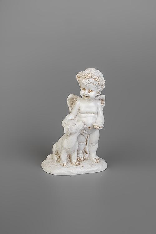 Фигурка Ангелок с песикомСувениры и упаковка<br>6.5*10см, полирезин, крем. (2 вида)<br>