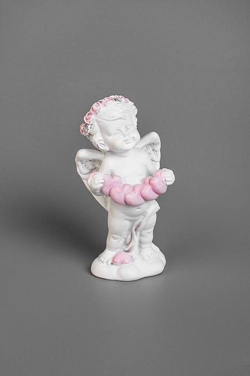 Фигурка Ангел с гирляндойСувениры и упаковка<br>3.5*3.5*7см, полирезин, бело-розовая<br>