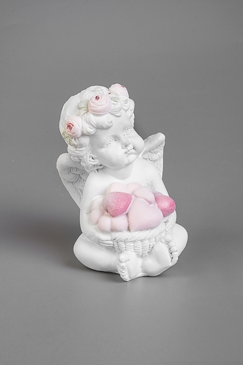 Фигурка Ангел с сердцамиСувениры и упаковка<br>6.5*4.5*7.5см, полирезин, бело-розовая<br>