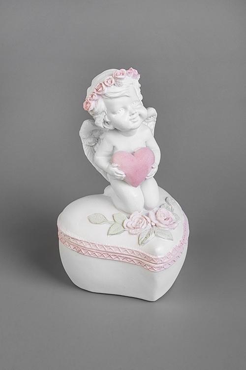 Шкатулка Ангел с сердцемШкатулки для украшений<br>Выс=12см, полирезин, бело-розовая<br>