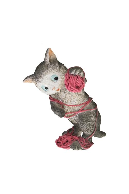 Фигурка Котик с ниткамиФигурки<br>16*9.5*4.5см, полирезин, серо-розовая<br>