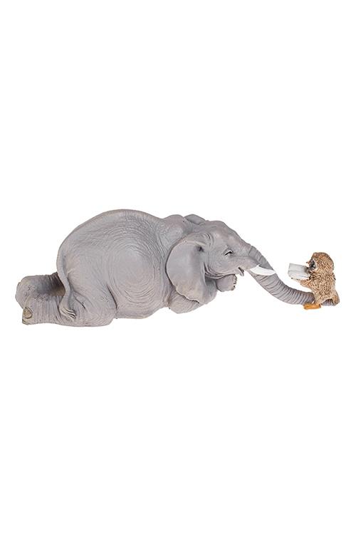 Фигурка Слон и совушкаИнтерьер<br>17*6.5*6см, полирезин, серая<br>