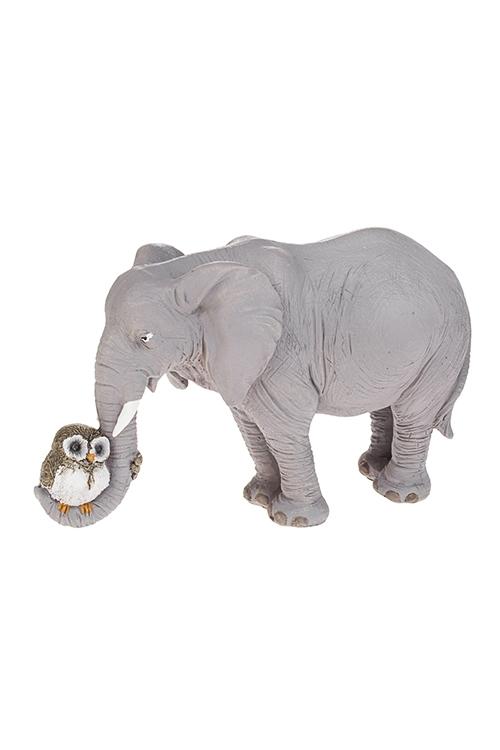 Фигурка Слон и совенокФигурки<br>17*7.5*10.5см, полирезин, серая<br>