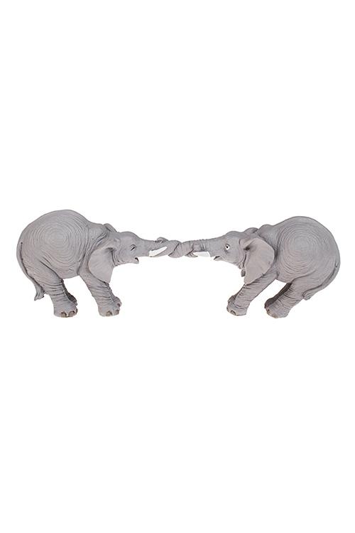 Фигурка Играющие слоникиИнтерьер<br>23*5*8см, полирезин, серая<br>