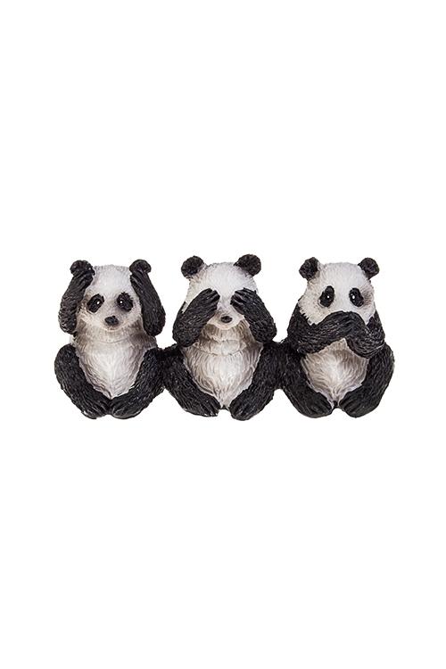 Фигурка Три пандыСувениры и упаковка<br>8*3*4см, полирезин, бело-черн.<br>