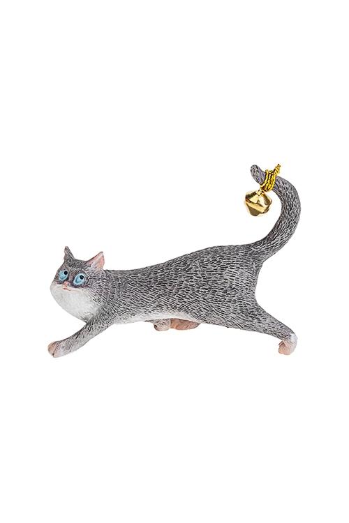 Фигурка Шкодливый котСувениры и упаковка<br>9*3*7см, полирезин, серо-белая<br>