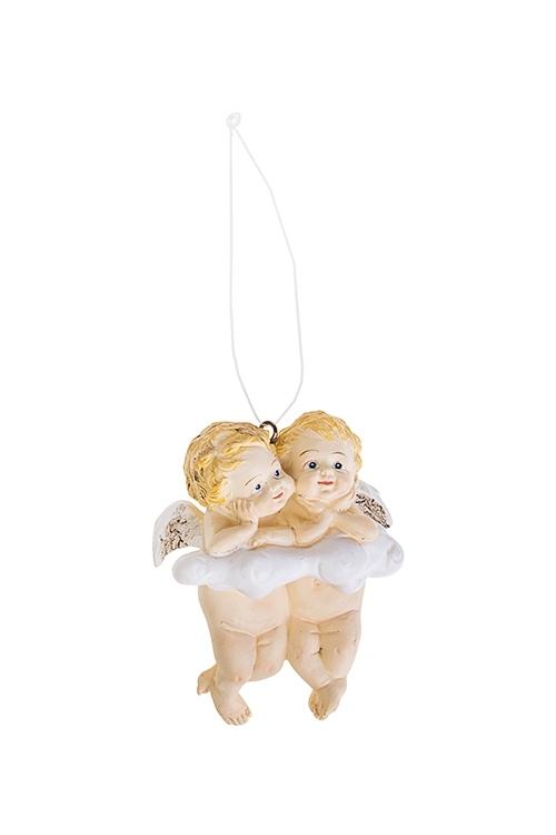 Фигурка Ангелочки на облакеСувениры и упаковка<br>6.5*4*8см, полирезин, подвесная<br>