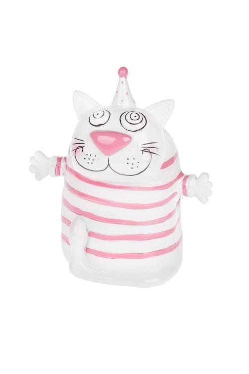 Копилка Полосатый котСувениры и упаковка<br>10*8*14см, полирезин, бело-розовая<br>