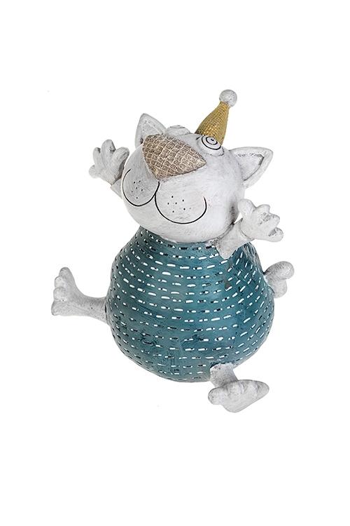 Копилка Веселый котСувениры и упаковка<br>13*14см, полирезин, сине-белая (2 вида)<br>