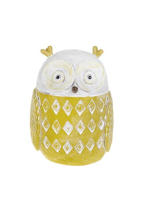 Копилка Удивленная совушкаСувениры и упаковка<br>9*9*14см, полирезин, желто-белая<br>