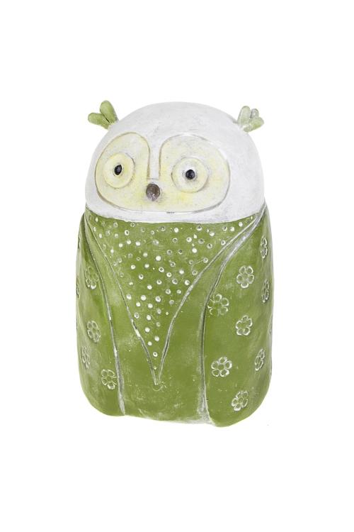 Копилка Удивленная совушкаСувениры и упаковка<br>10*9*16см, полирезин, зелено-белая<br>