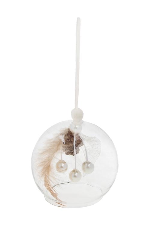Украшение для интерьера НежностьЕлочные шары<br>Д=8см, стекло, натур. матер., перо, подвесное<br>
