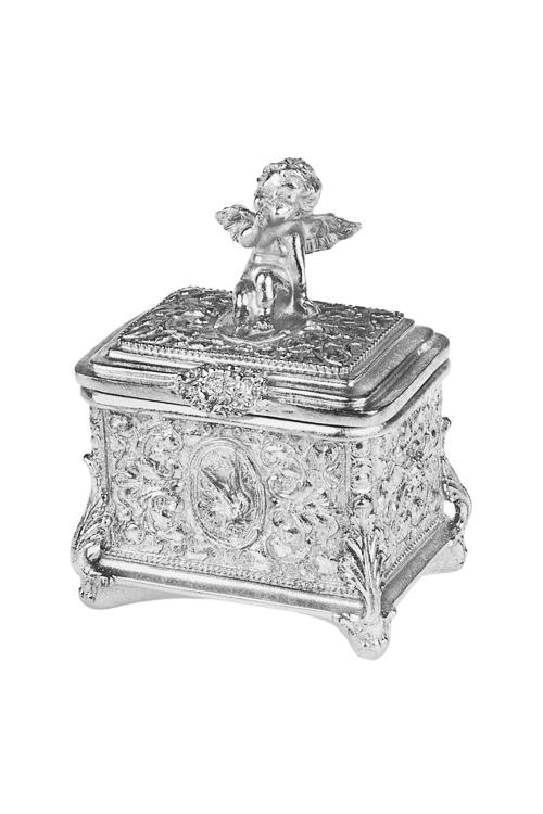 Шкатулка АнгелокШкатулки и наборы по уходу<br>9*11*16см, полирезин, серебр.<br>