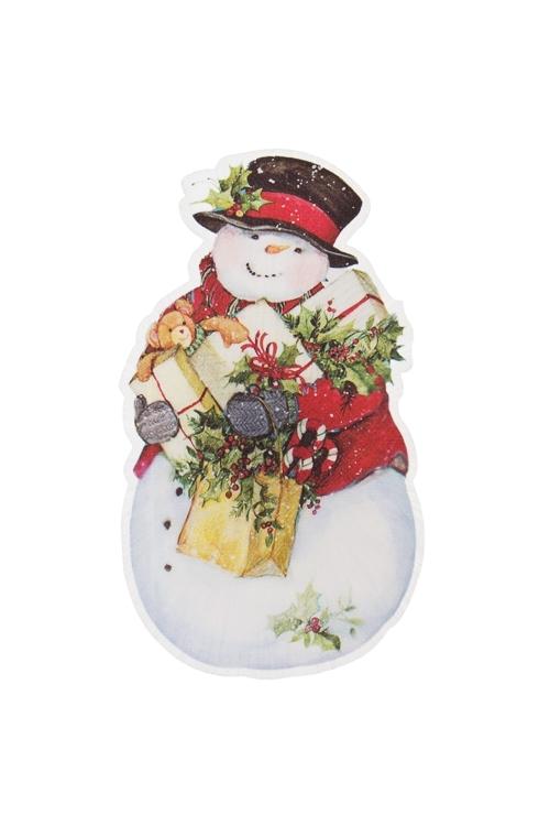 Держатель-магнит Снеговик с подаркамиСувениры и упаковка<br>Выс=10см, ПВХ, пластм., с подсветкой, на батар.<br>