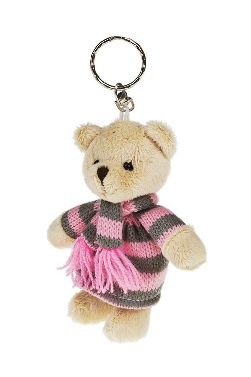 Брелок Мишуля в вязаном платьеСувениры и упаковка<br>Выс=11см, текстиль, серо-розово-крем.<br>