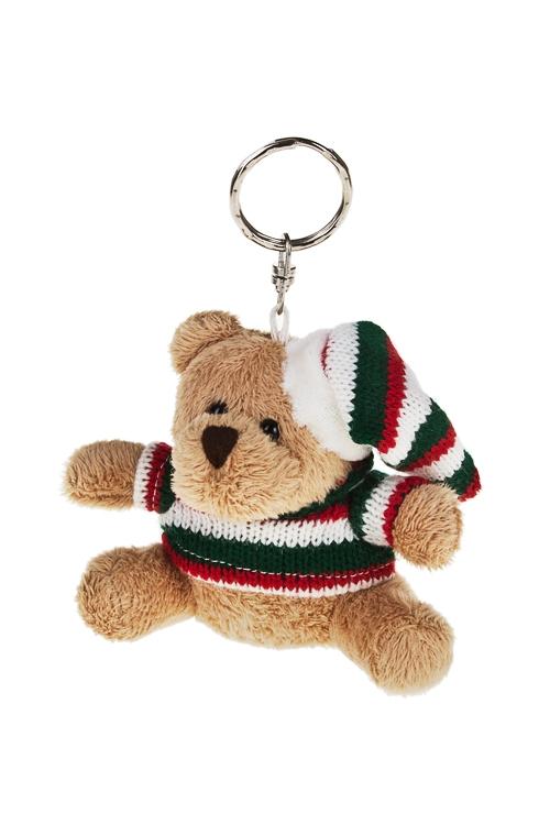 Брелок Мишка в колпачке и свитереСувениры и упаковка<br>Выс=8см, текстиль, бело-красно-зеленый<br>