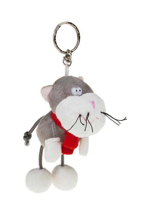 Брелок Котик с шарфикомБрелоки<br>Выс=11см, текстиль, серо-красный<br>