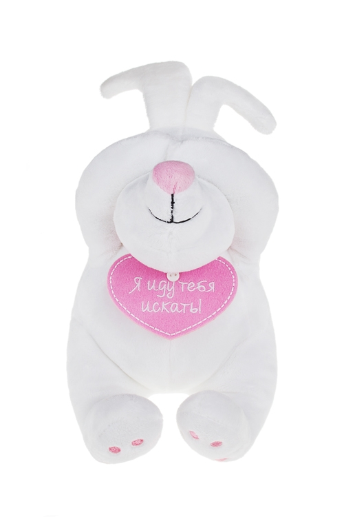 Игрушка мягкая Мечтающий зайчикПлюшевые игрушки<br>Выс=20см, текстиль, бело-розовая<br>