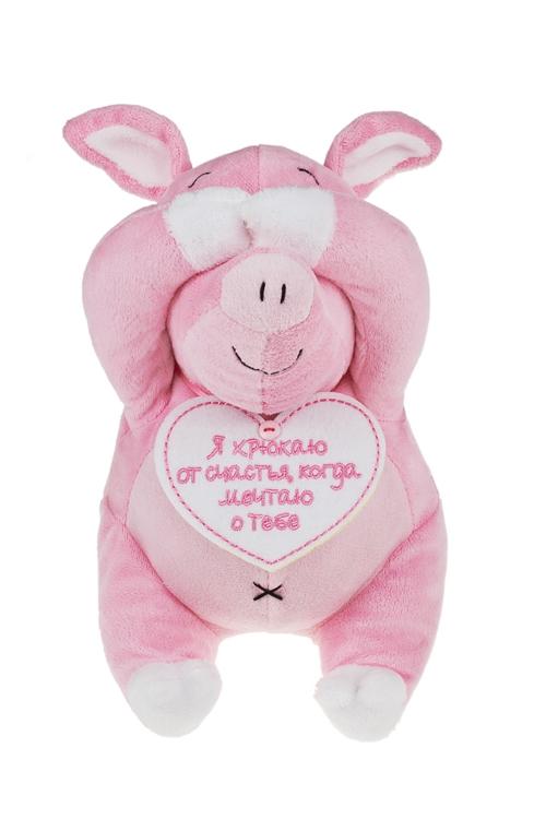 Игрушка мягкая Мечтающая хрюшаПлюшевые игрушки<br>Выс=20см, текстиль, бело-розовая<br>