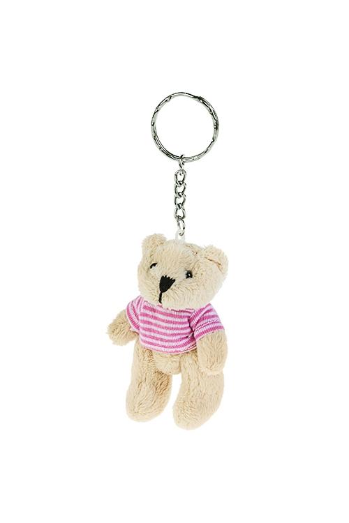 Брелок Мишуля в свитеркеСувениры и упаковка<br>Выс=8.5см, текстиль, крем.-розовый<br>