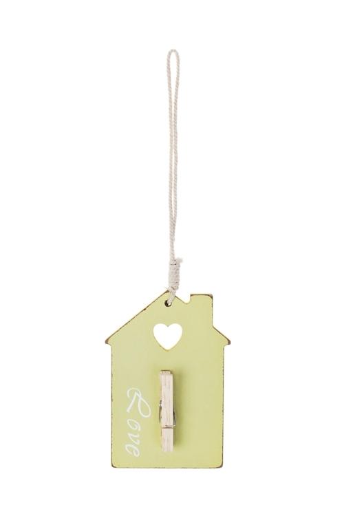 Украшение декоративное Домик любвиДержатели-зажимы для фото<br>Дл=25см, дерево, подвесное (3 вида)<br>