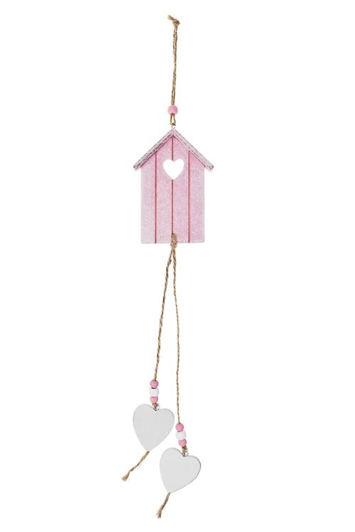 Украшение декоративное Домик с сердцамиУкрашения на стену<br>Дл=44см, дерево, металл, подвесное<br>