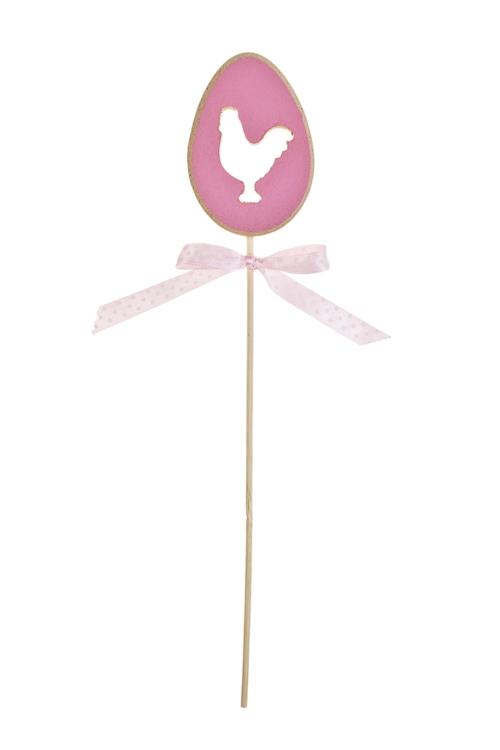 Украшение декоративное Курочка в яйцеСувениры на палке<br>Выс=5см, дерево, розовое, на палке<br>
