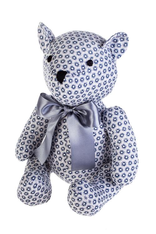 Игрушка мягконабивная Мишутка с бантомПодарки ко дню рождения<br>17*23см, текстиль, сине-белая<br>