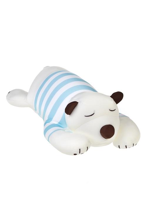 Игрушка мягконабивная Белый мишка в тельняшкеПодарки на день рождения<br>36*15*12см, лайкра, бело-голубая<br>