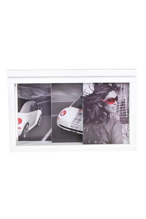 Рамка для 3-х фото Деловой стильДеревянные фоторамки<br>35*23см, фото 13*18см, МДФ, белая<br>