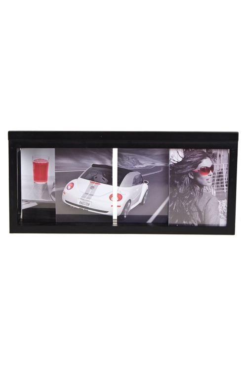 Рамка для 4-х фото Деловой стильПодарки ко дню рождения<br>50*23см, фото 13*18см, МДФ, черная<br>