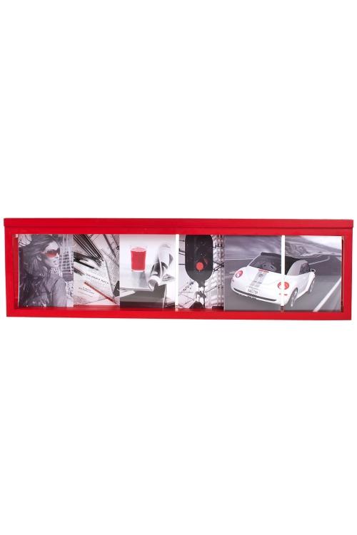 Рамка для 6-ти фото Деловой стильДеревянные фоторамки<br>77*23см, фото 13*18см, МДФ, красная<br>