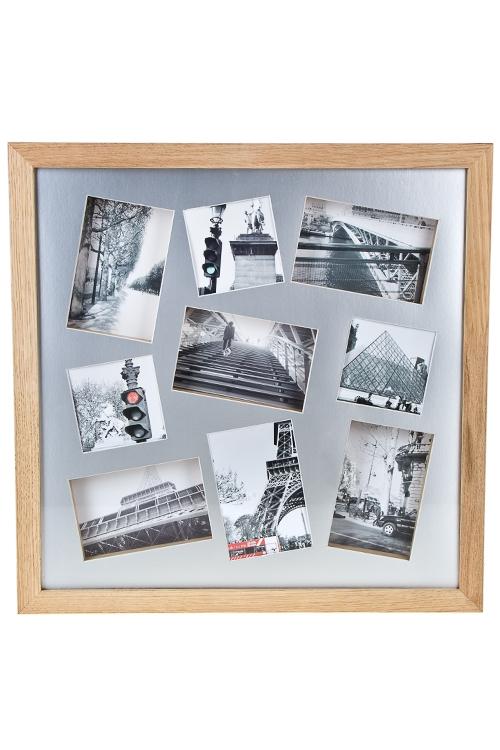 Рамка для 9-ти фото Мои путешествияДеревянные фоторамки<br>50*50см, фото 10*15см, 10*10см, МДФ<br>