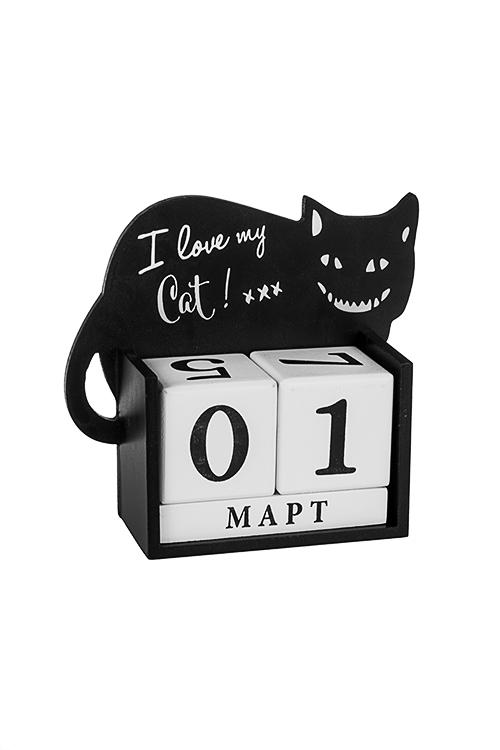 Календарь настольный Любимый котУчеба и работа<br>18*16*6см, МДФ, черно-белый<br>