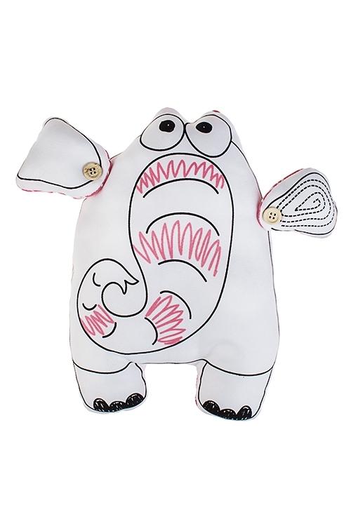 Игрушка мягконабивная Розовый слонПлюшевые игрушки<br>29*29см, текстиль, бело-розовая<br>